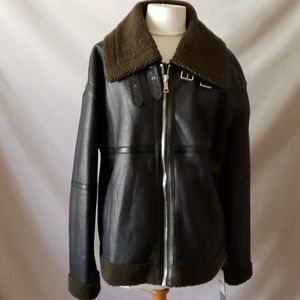 Bagatelle Faux Leather Olive and Black Jacket